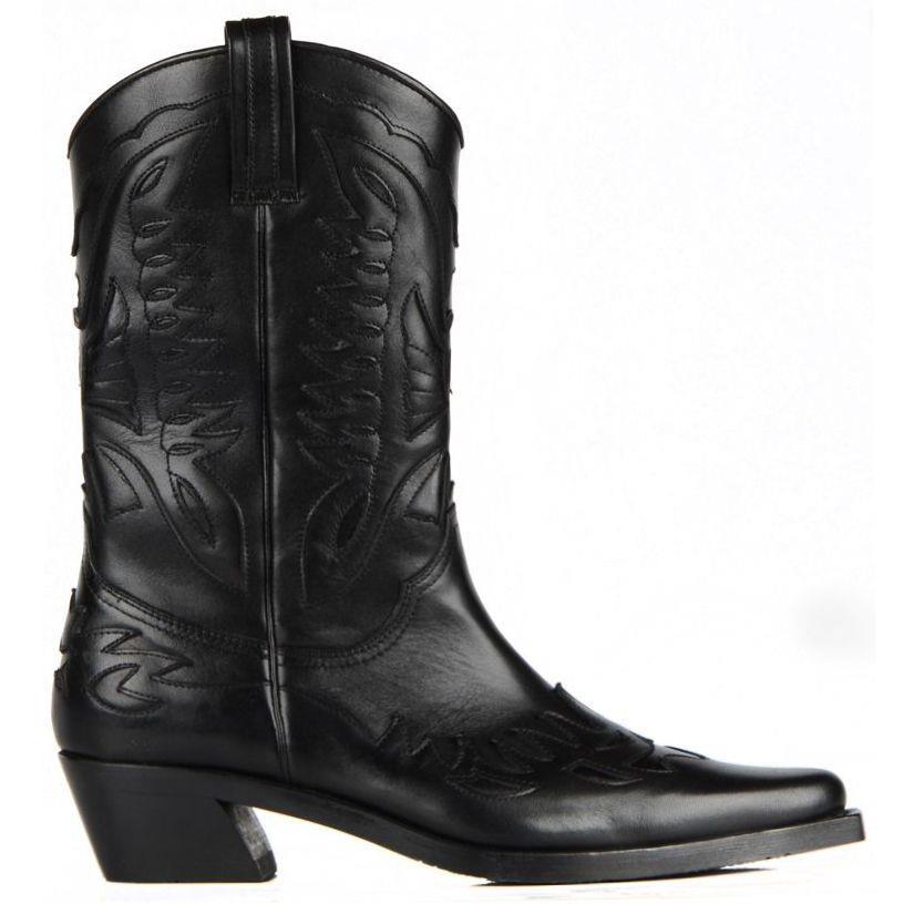 Couro para Mulheres Botas de Cowboy Dedo do pé Meados de Bezerro Botas de Cowgirl Footcourt-preto Genuíno Apontado Botas Artesanais Sapatos Femininos Nova Temporada