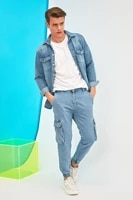 trendyol men loose fit cargo jogger jeans tmnss21je0118