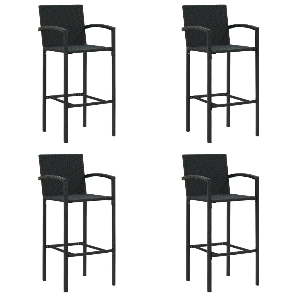 Фото - Bar Stool Chair Counter Stools Set of 4 Kitchen Home Decor for Counter 4 pcs Black Poly Rattan straight stretchable chair cover 4 pcs black