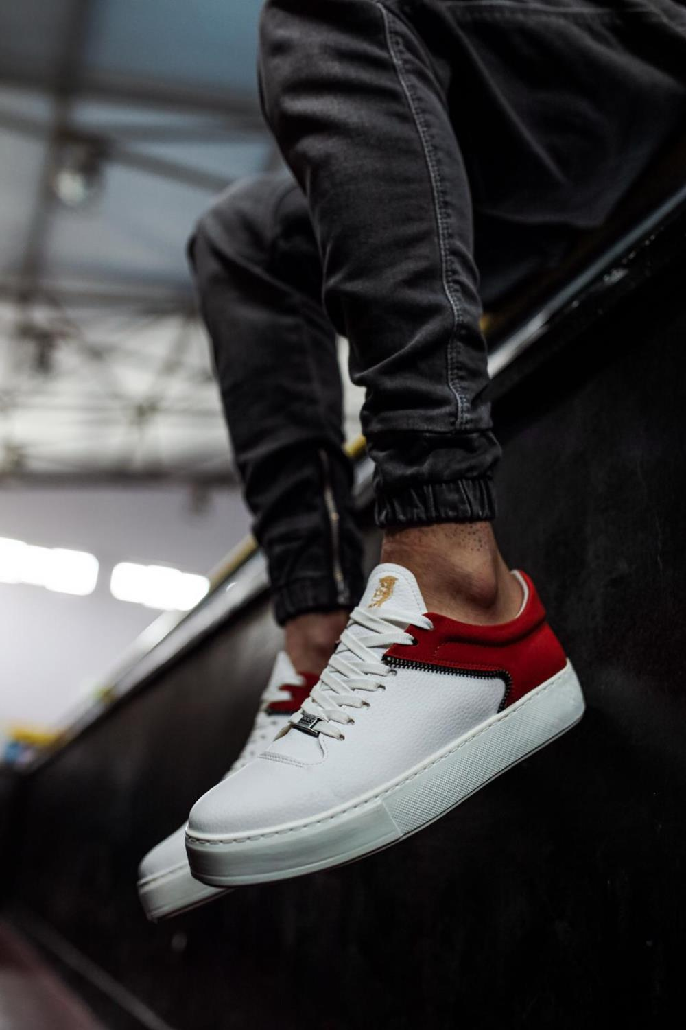 Knack Men Shoes Red and White Artificial Leather Lace Up Mixed Color Four Seasons 2021 Shoes Men Shoes Shoes For Men With Free Shipping Luxury Shoes Safety Shoes Designer Shoes  Shoes Men Original Sneakers Men  099