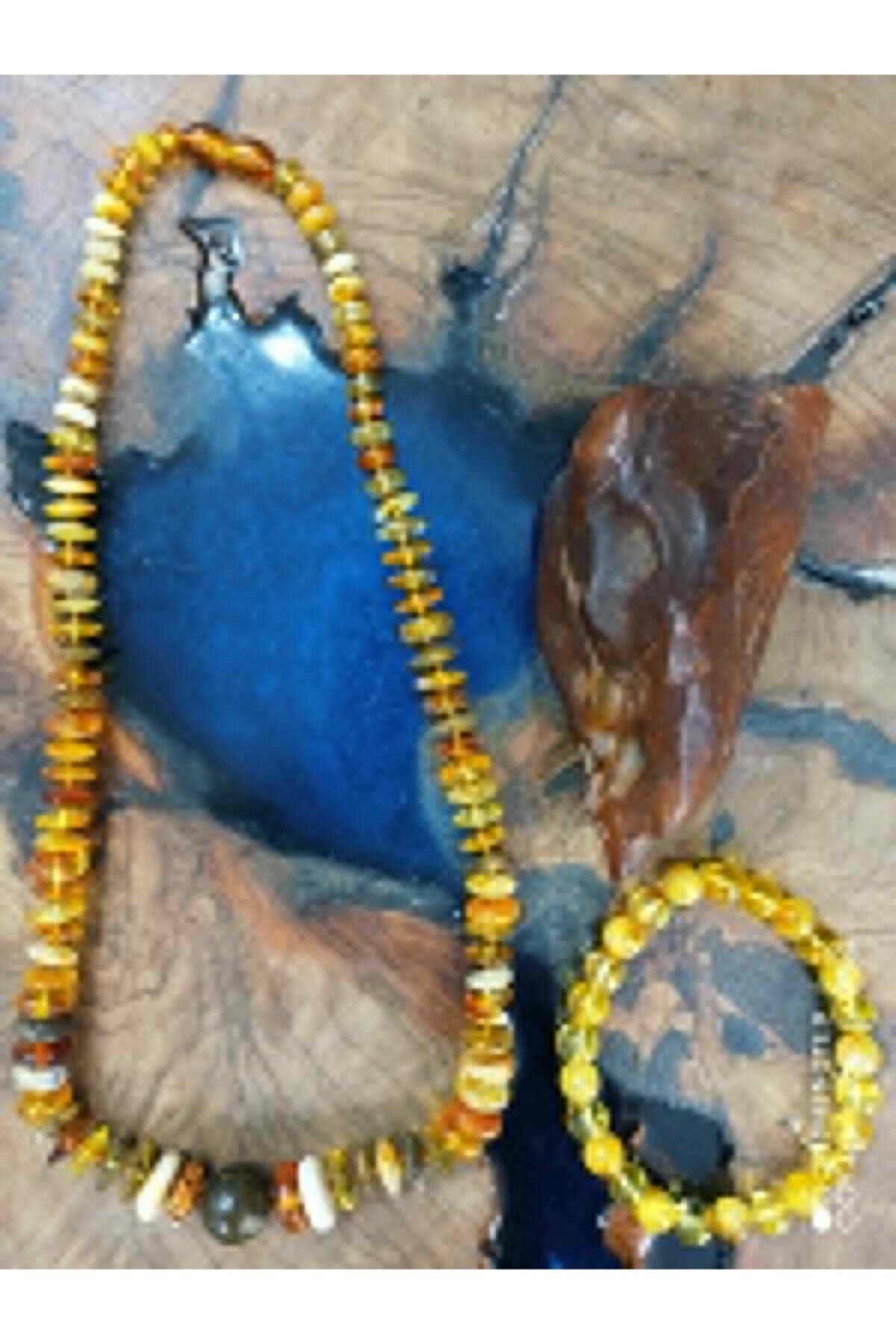 مجوهرات الأزياء النسائية الطبيعية البلطيق قطرة العنبر (العنبر) قلادة سوار مجموعات