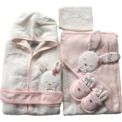 Baby Girl Cute Rabbit Bathrobe Set Natural