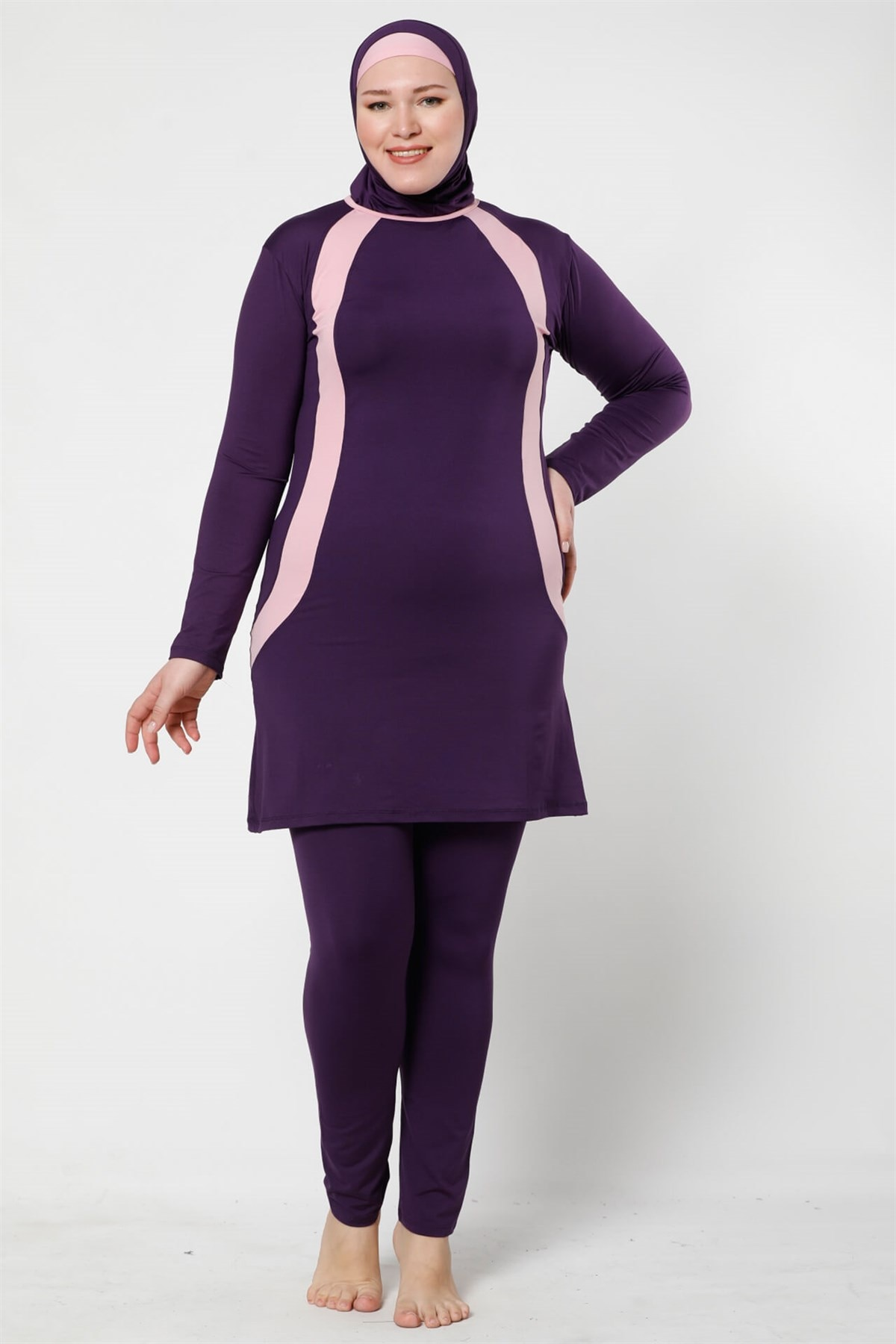Fashion Cartoon Full Closed The Tights Lycra Large Size Hijab swimwear 28008