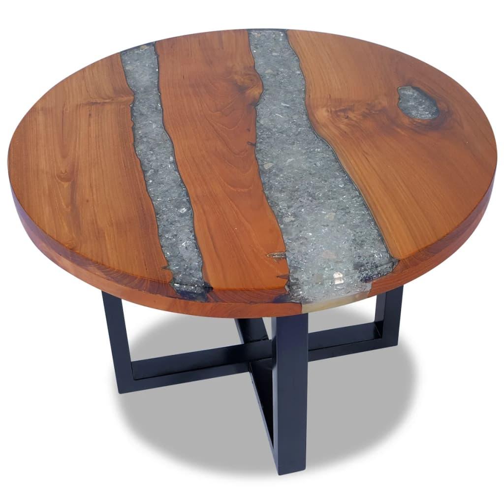 Кофейный столик, журнальные столики для искусственной Тиковой смолы 23,6 дюйма
