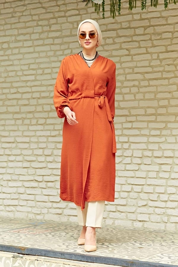 TUGBA Muslim Women Waist Belted Aerobin Kimono Tile Cardigan İslamic outfit for Muslim