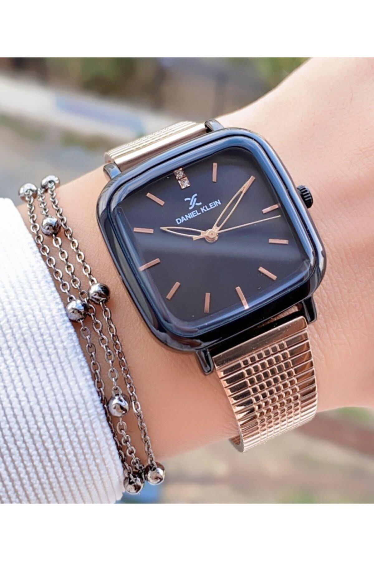 Rose Black Steel Mesh Cord Women Wrist watch enlarge
