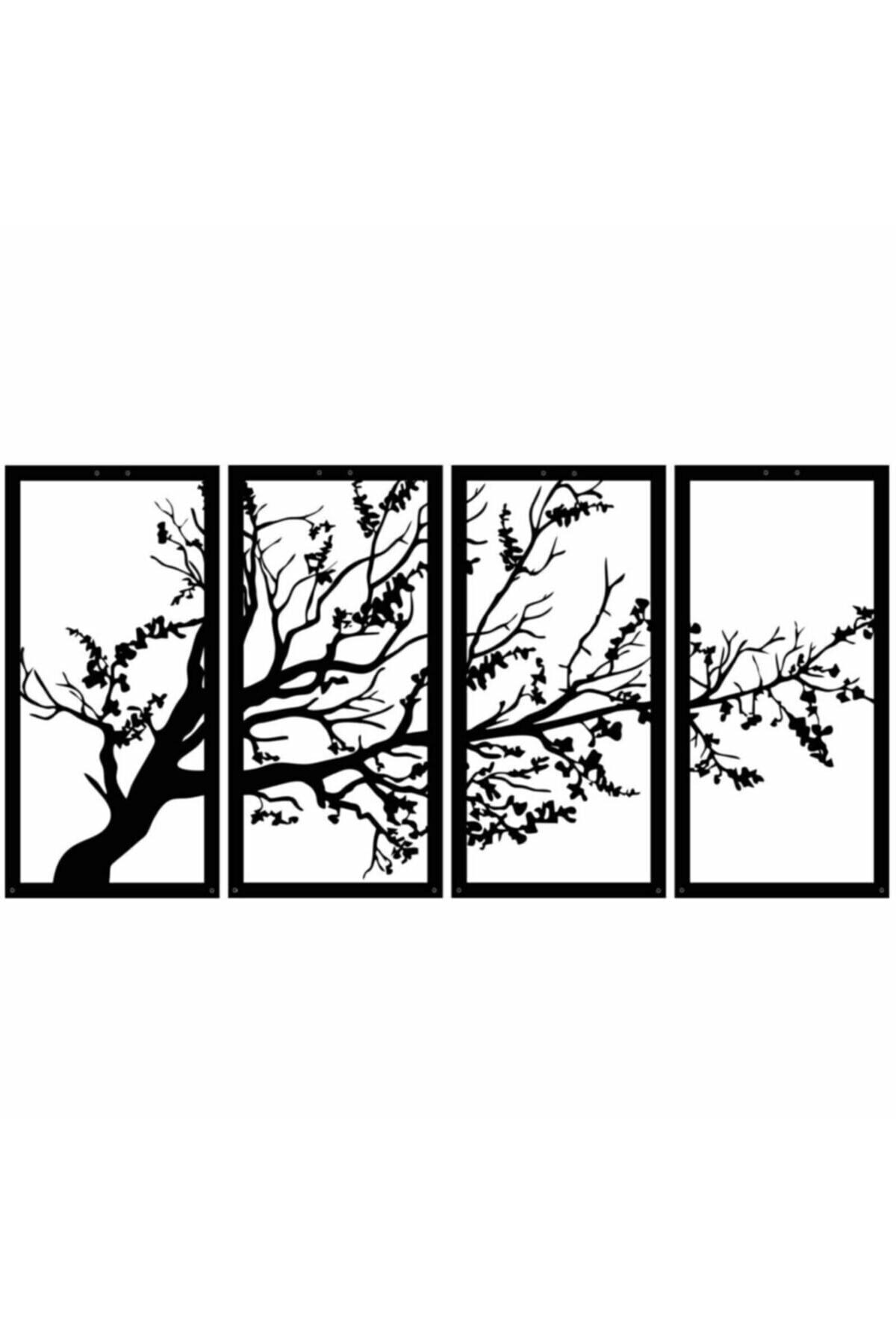 أسود شجرة الحياة الخريف الربيع جدار ديكور صورة 4 قطعة مجموعة خشب أسود قطع الليزر لصائق حلية الجدول تصميم المنزل مكتب غرفة
