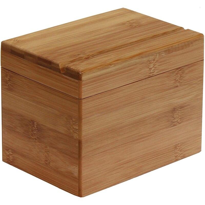 صندوق وصفة الخيزران صندوق وصفة المطبخ قسط لتنظيم وتخزين وصفات في المطبخ