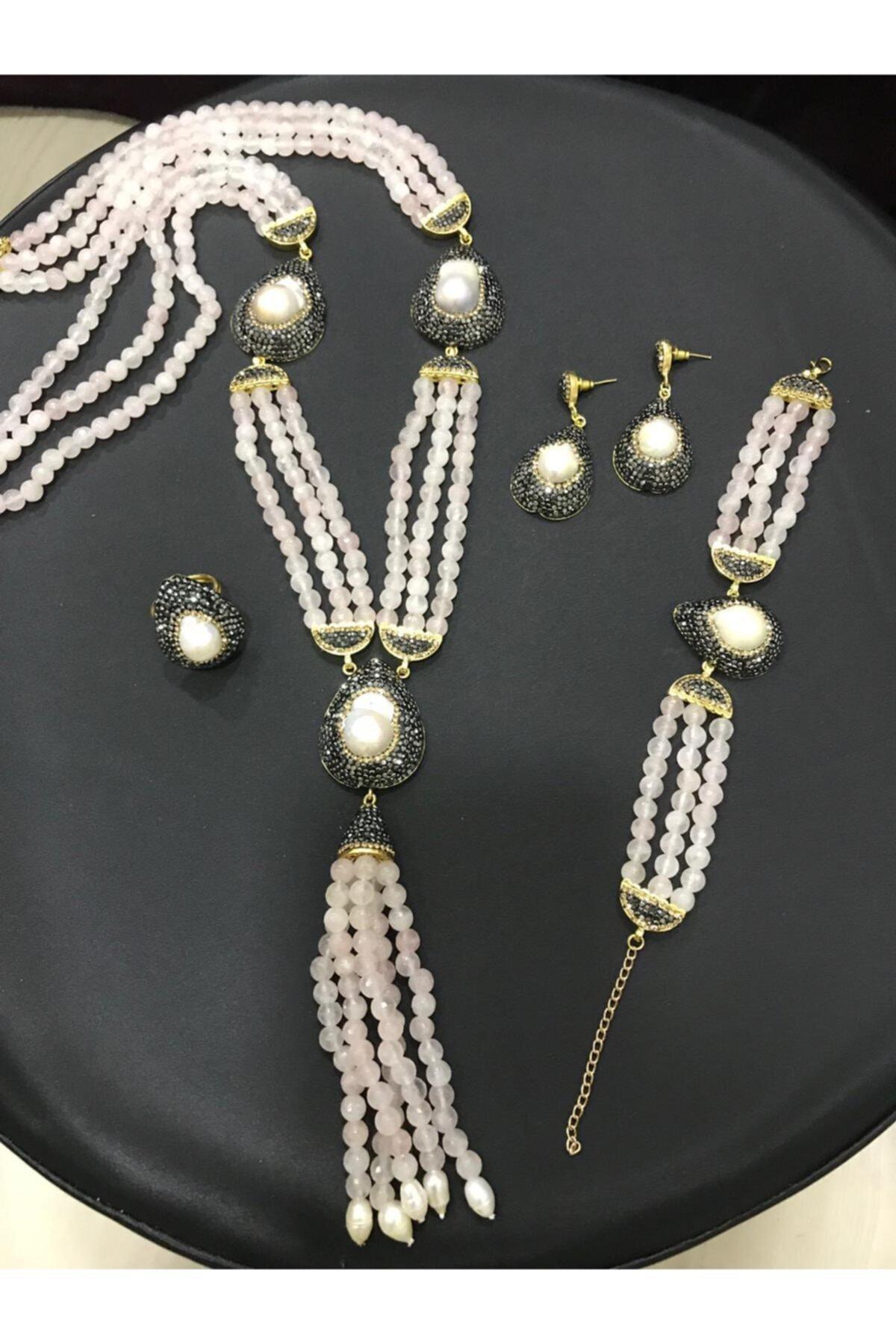 مجوهرات الأزياء النسائية Marcasite Doğaş مجموعات مجوهرات اللؤلؤ قلادة سوار أقراط وخاتم
