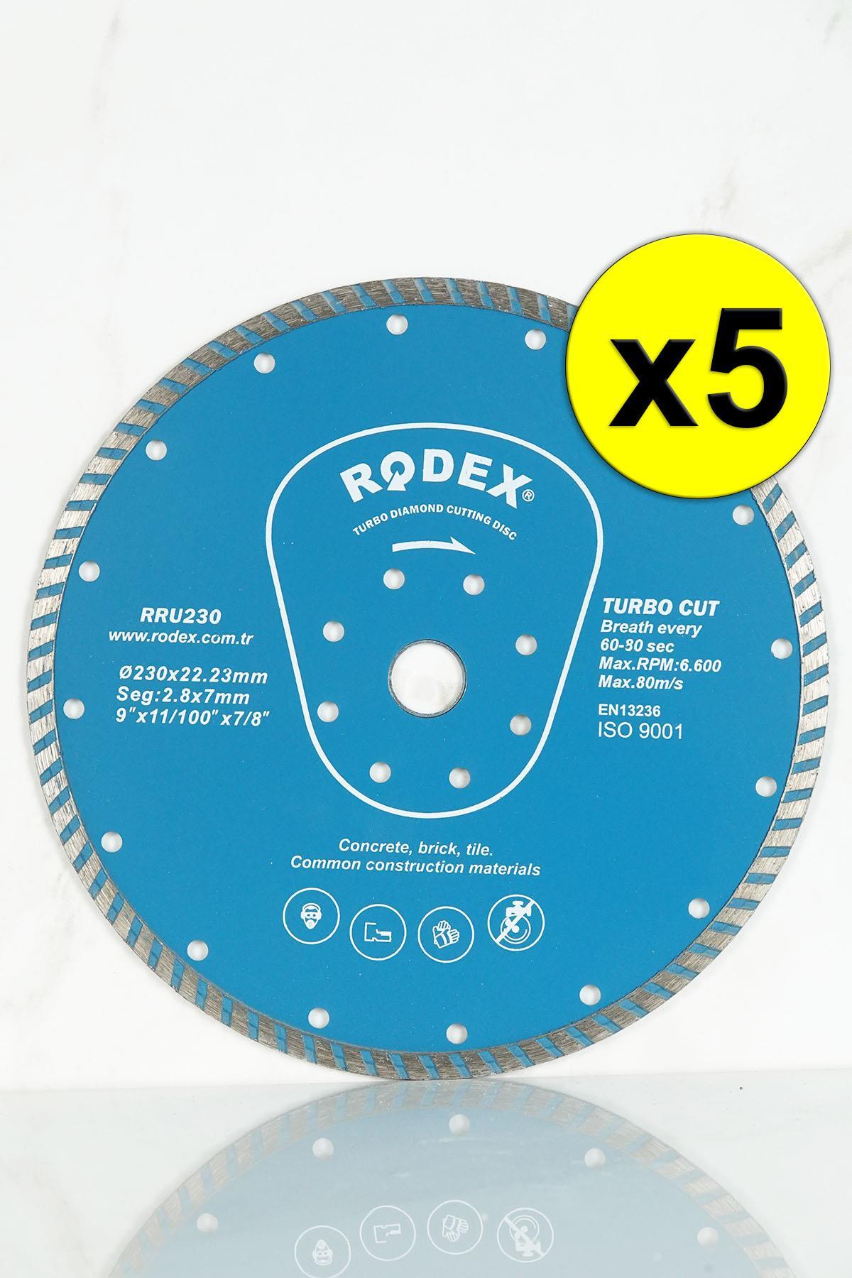 Rodex RRU230 Standard Type Turbo Diamond Stone, Brick, Granite Cutting Disc 230mm 5 Pcs