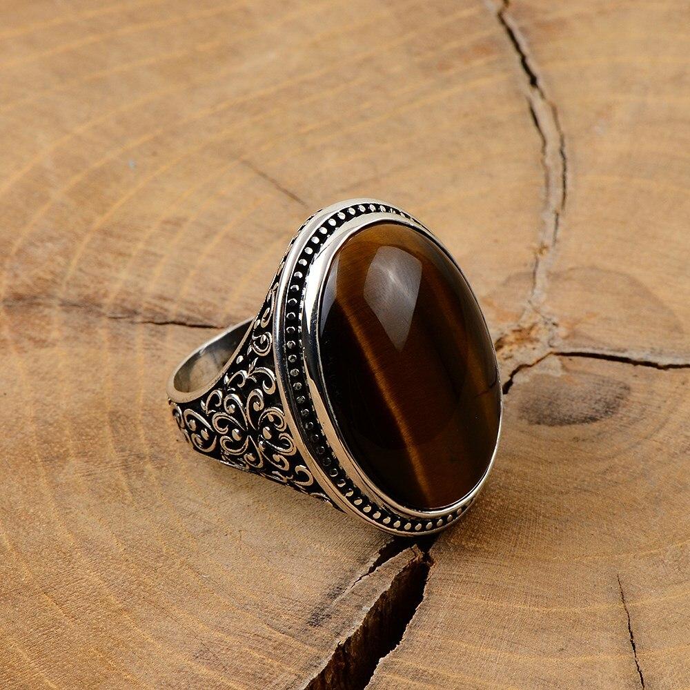 خاتم فضة بيضاوية كبيرة خرز عين النمر للرجال