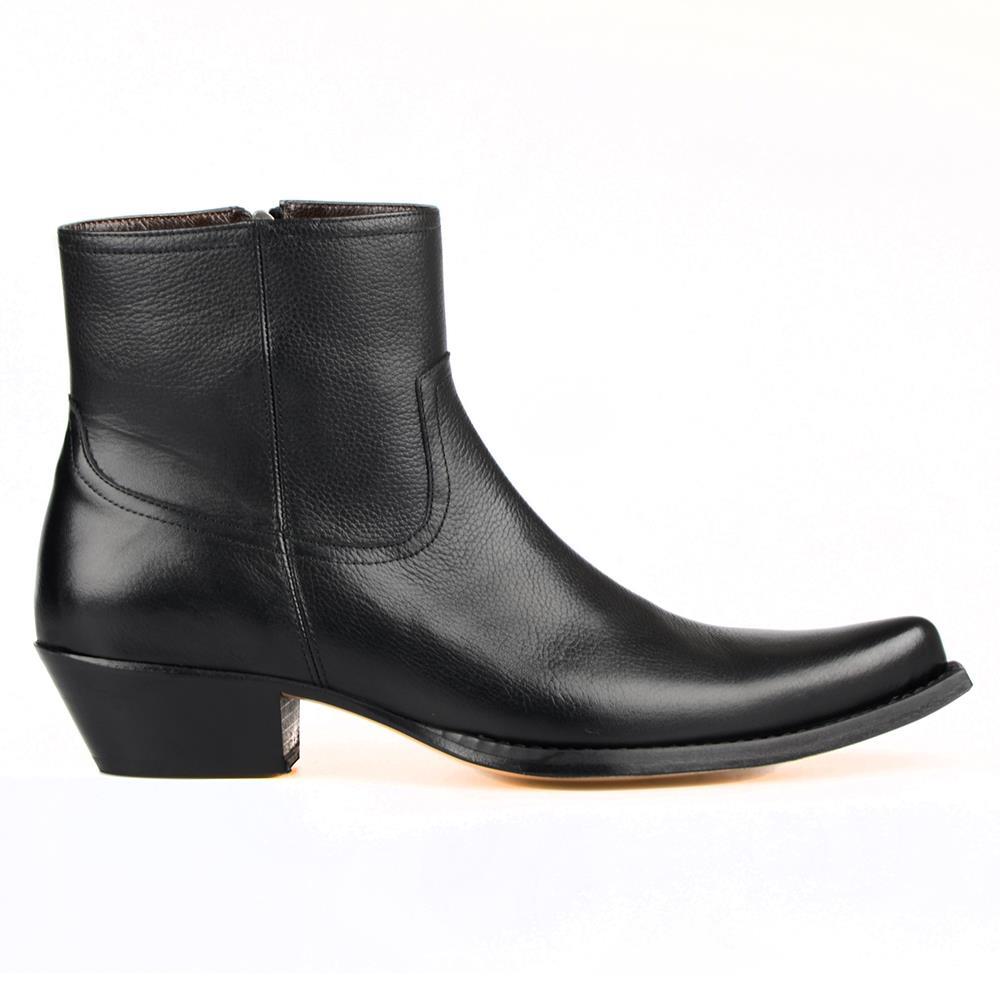 FootCourt الكلاسيكية قبعات رعاة البقر الغربية أحذية للرجال سستة أشار تو السادة قطع علوية الأحذية زيادة الارتفاع جلد باطن الرجعية