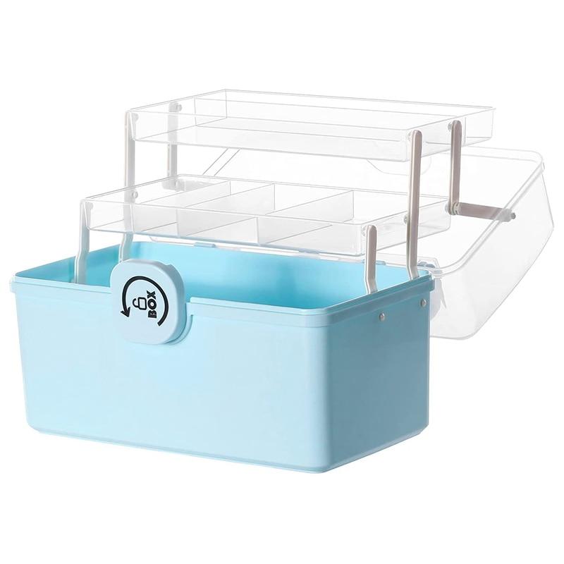 صندوق تخزين من البلاستيك مع علبة أضعاف 3 طبقات ، أداة منظم ، حاوية قابلة للقفل المحمولة ، 34x19x21.5 سنتيمتر ، أزرق