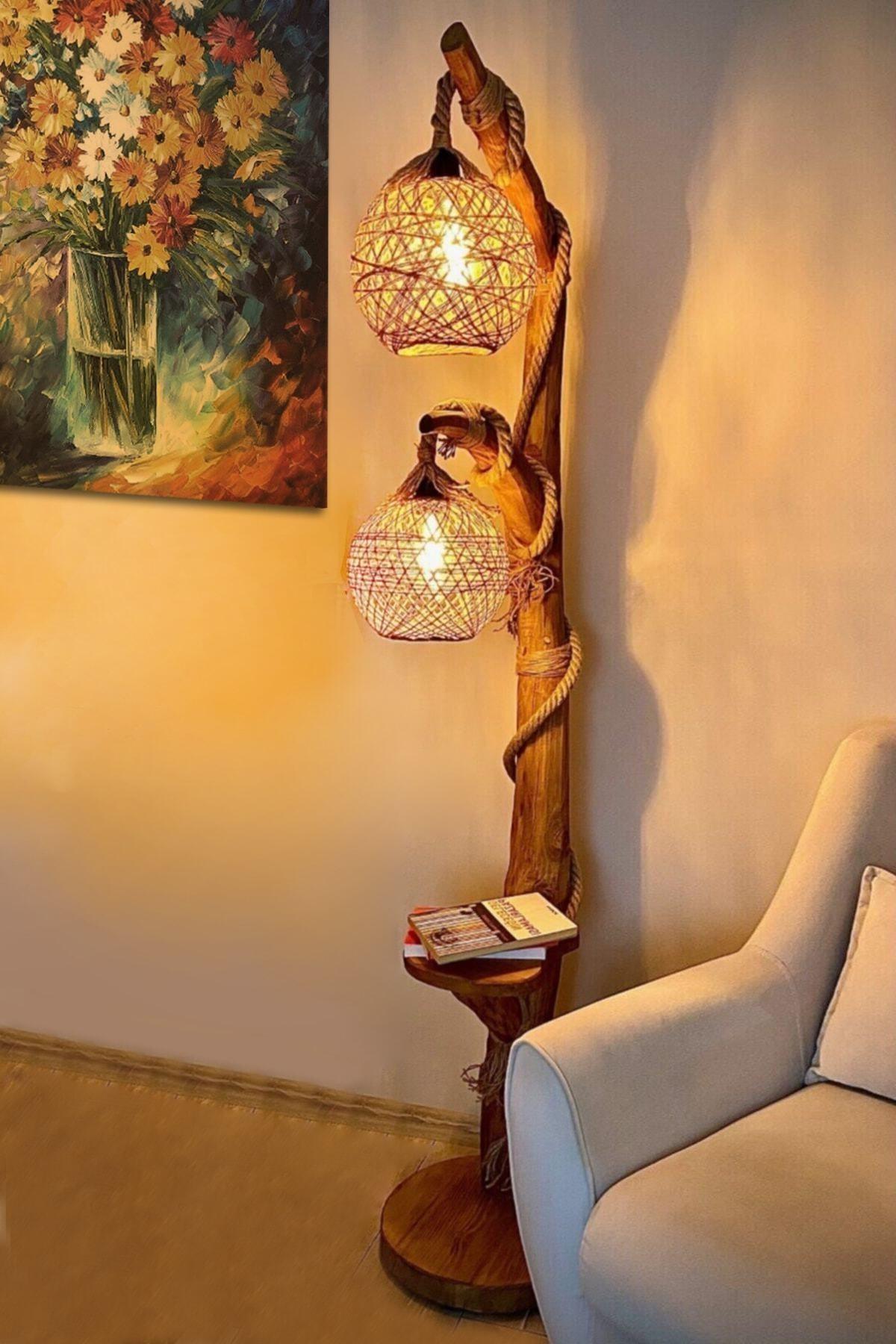 Brown Natural Wood Double Sphere Lighting Floor Lamp 140cm Floor Standing Chandelier