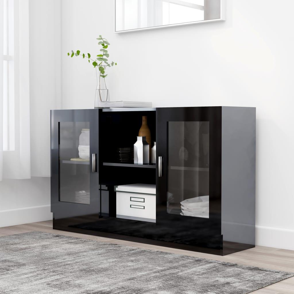 خزانة عرض أسود لامع 120x30,5x70 سم اللوح