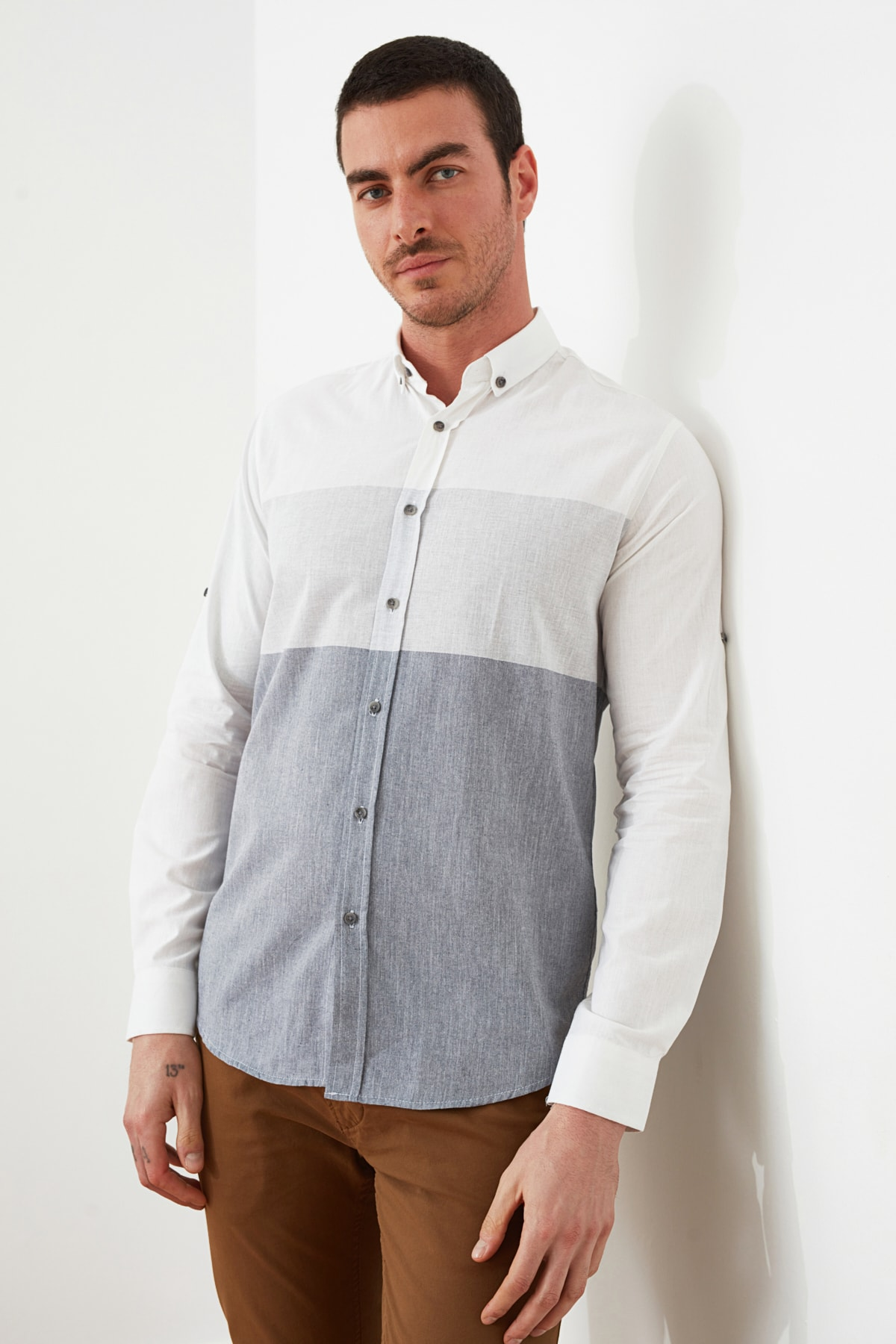 Trendyol Male Long-Sleeve-Paneled Shirt Collar Shirt TMNSS20GO0459