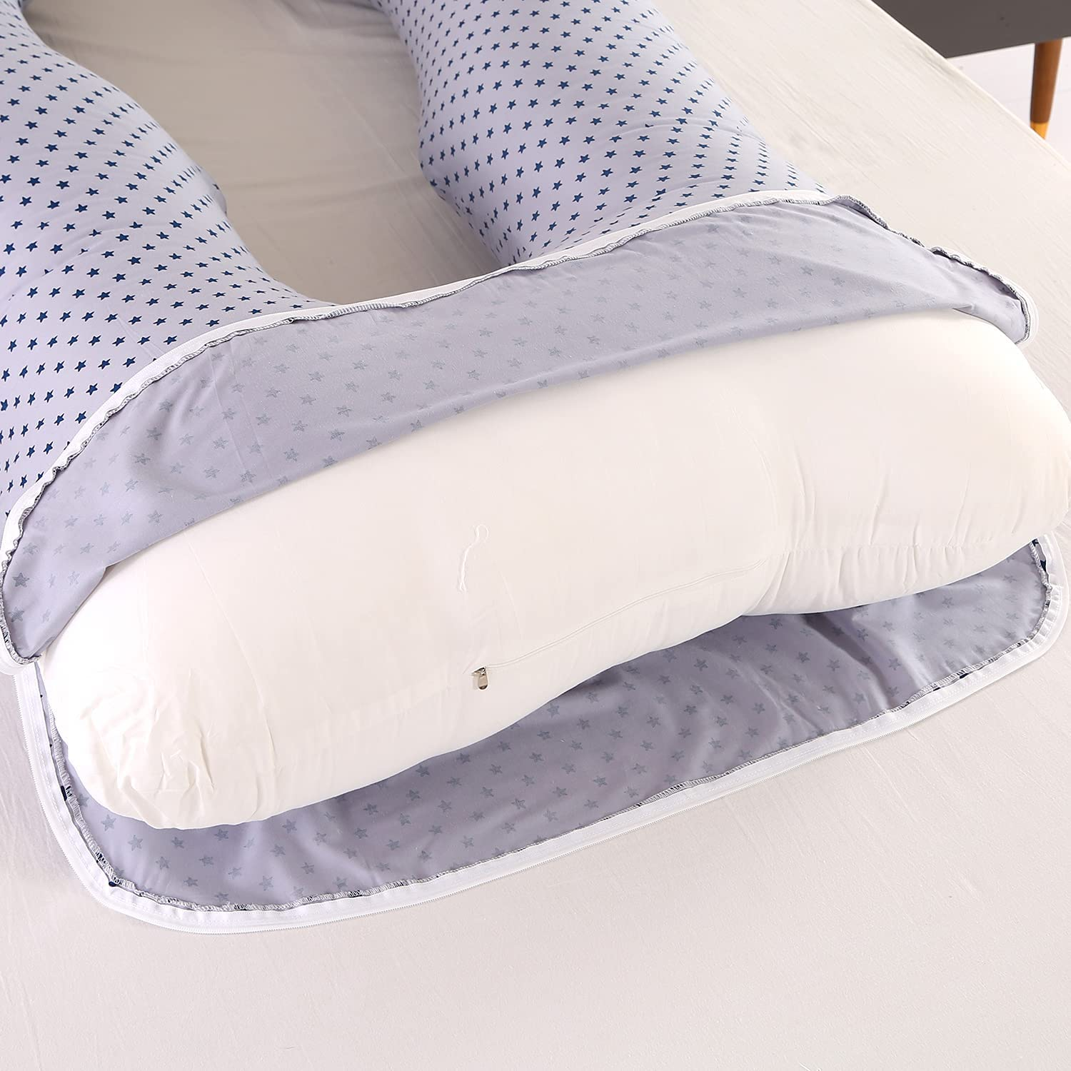 57 inch Maternity Pillow, U Shaped Pregnant Women Full Body Pillow for Hip, Leg, Back Pain, washable Jersey Cover enlarge