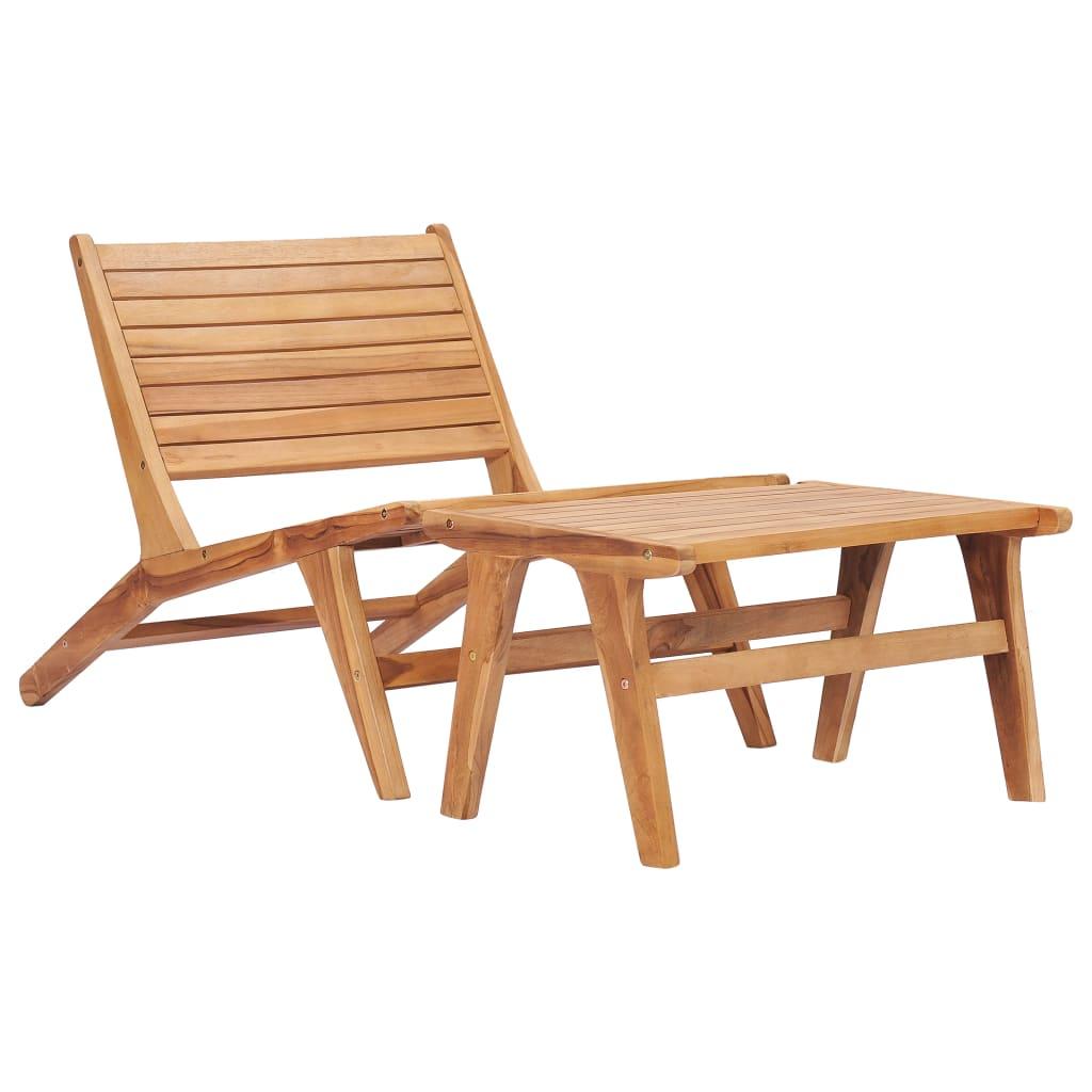 Патио садовые стулья двухслойные вне легкая мебель для веранды комплект балкон с подставкой для ног сплошной тиковое дерево