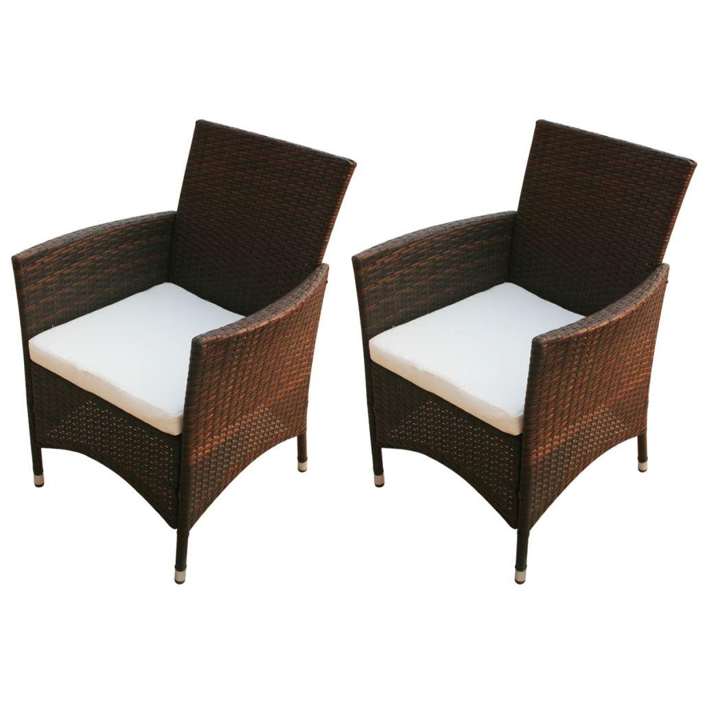 Уличные стулья для патио, комплект уличной мебели для террасы, декор для шезлонга для балкона, 2 шт., поли ротанговый коричневый
