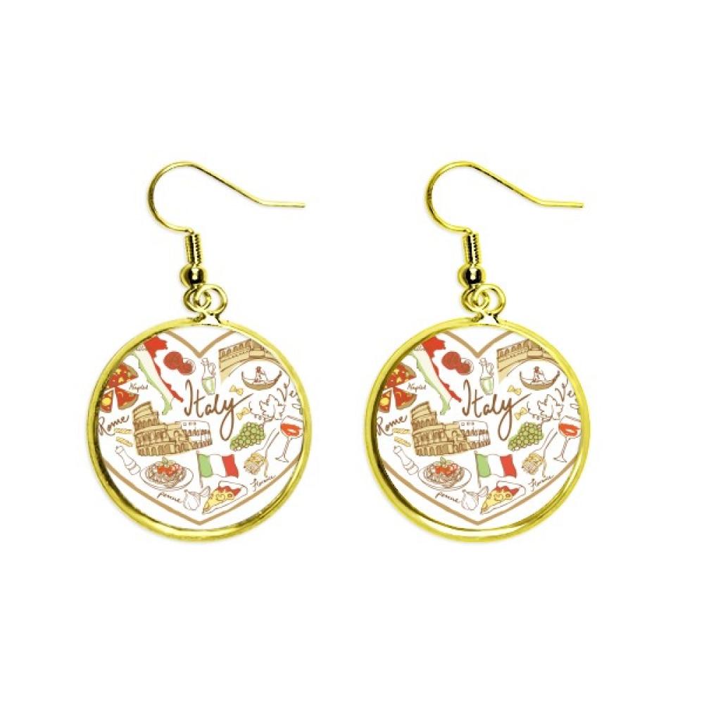 Italy Heart Roman Theater National Flag Ear Dangle Golden Drop Earring Jewelry Woman