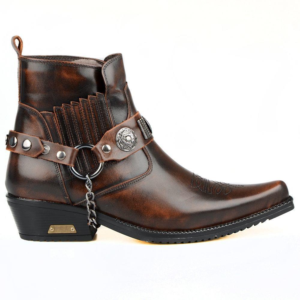 FootCourt-براون حقيقية شيرلينغ أحذية من الجلد للرجال الكاحل أحذية كاوبوي الشتاء الثلوج الفراء داخل الدافئة الغربية الرجعية الذكور الأحذية
