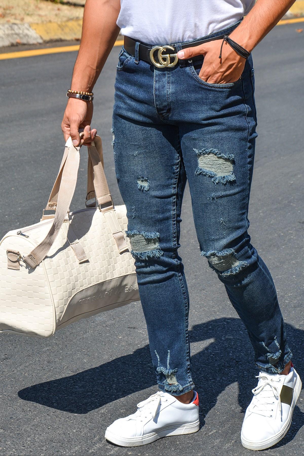 Мужские облегающие джинсовые брюки 20Y-2100439 темно-синие