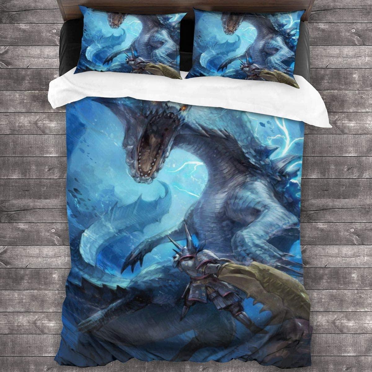 3pcs Bedding Printing Monster Hunter World Duvet Cover Set Soft(No Comforter) bed Set (1 Duvet Cover + 2 Pillow Shams)