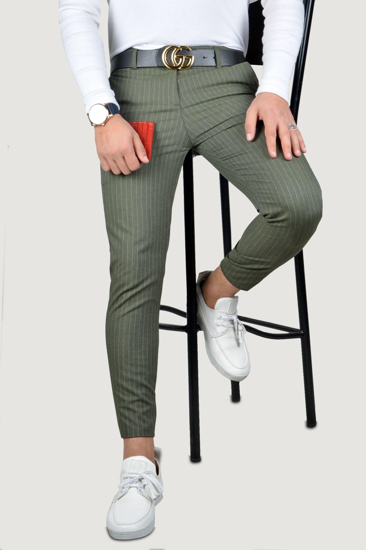 Мужские льняные брюки 8K-2200133-029 хаки