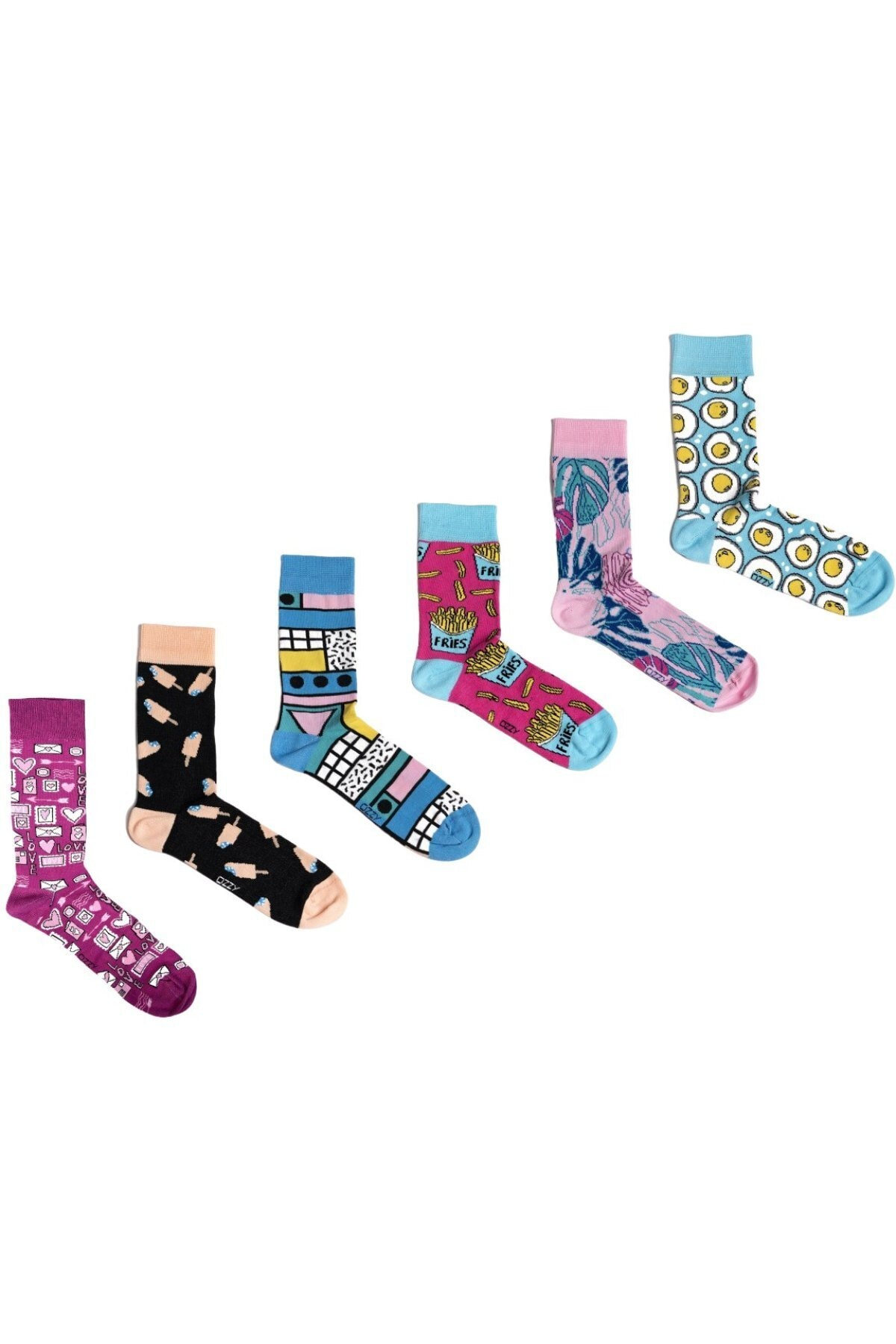 6 Pieces Organic Cotton Seamless Women's Multicolored Patterned Socks Daily Use Fun Patterns