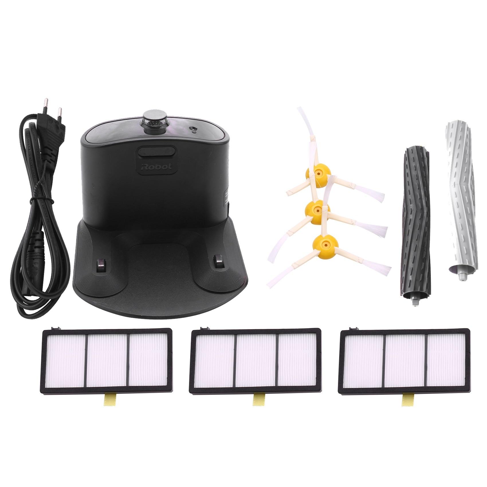 جهاز شحن قاعدة المنزل النازع 3 مرشحات 3 فرش جانبية ل IRobot Roomba 800 و 900 سلسلة 860 870 880 890 960 980 فراغ