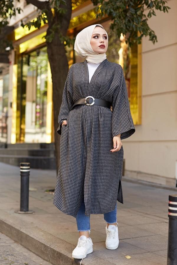 TUGBA Muslim Female Arched Cap Kimono Gray Cardigan İslamic outfit for Muslim