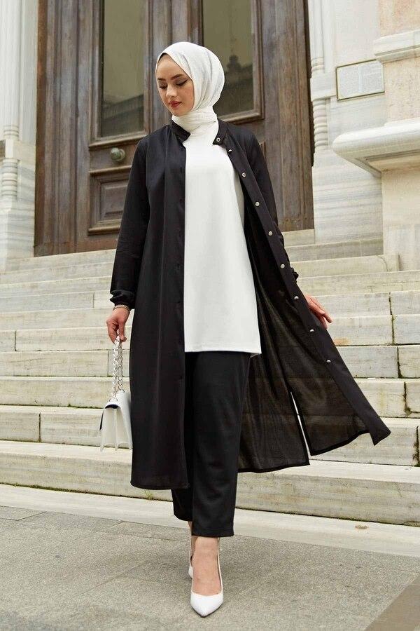 طقم بدلة من قطعة علوية + سفلية طقم بنطلون تونك بدلة نسائية إسلامية طقم تونيك أسود تونيك نسائي من مجموعة ملابس نسائية