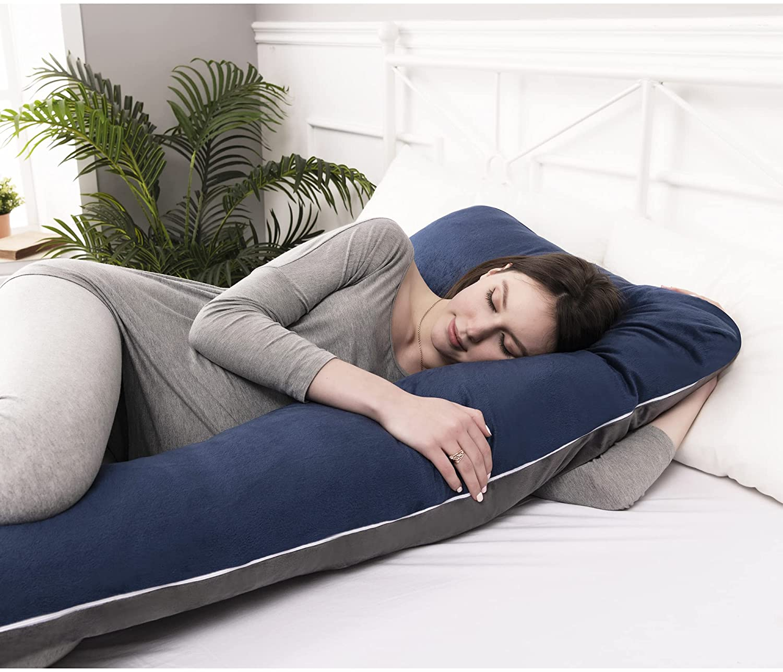 U Shaped Pregnancy Pillow With Breathable Soft Velvet Cover, Full Body Back Belly Hip Leg For Pregnant Women enlarge