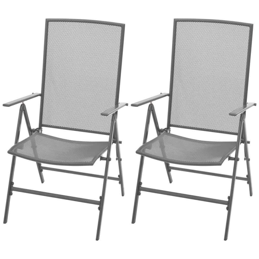 Уличные стулья для патио, штабелируемые стулья, подставка для крыльца, комплект наружной мебели для балкона, 2 шт., стальной, серый