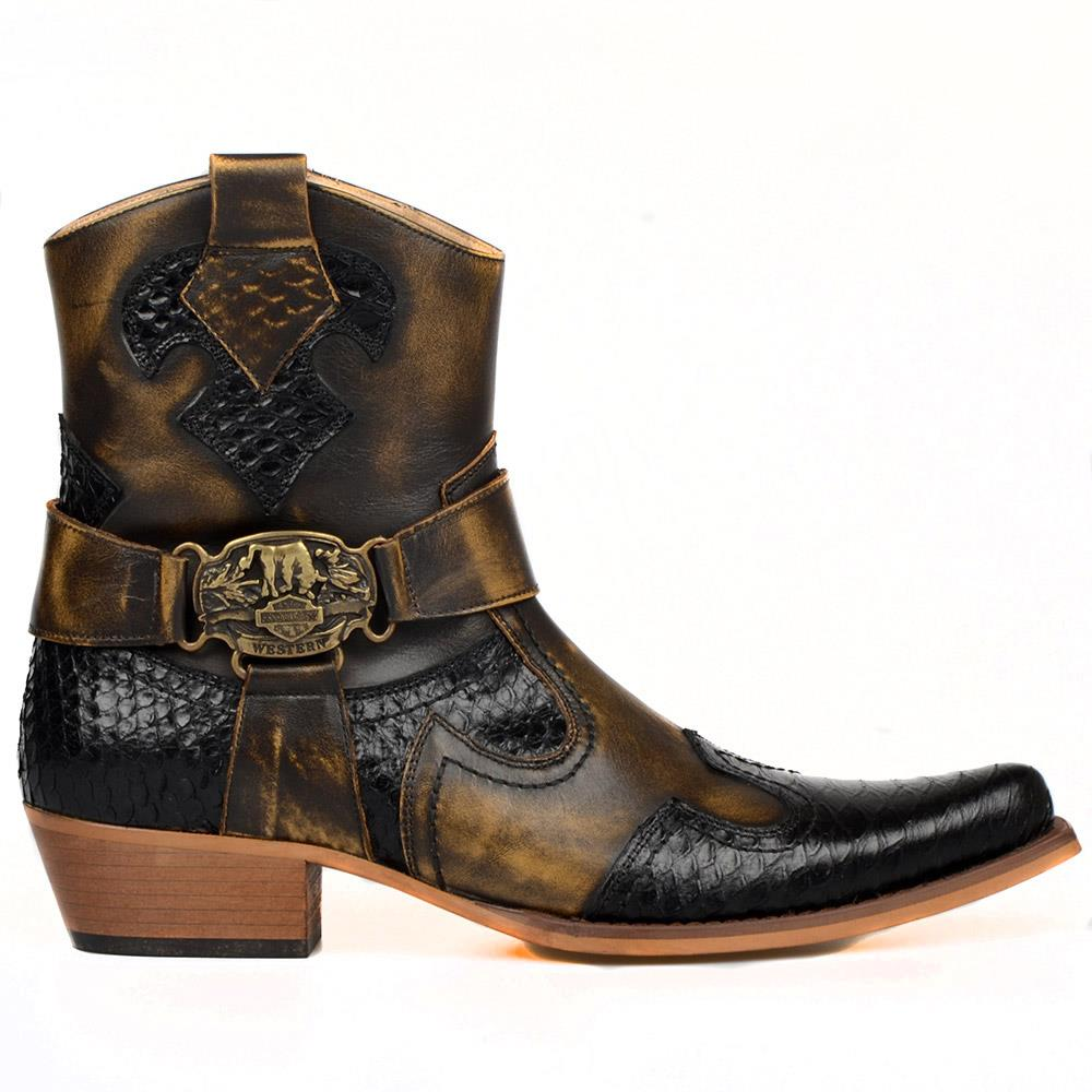 FootCourt-حذاء رعاة البقر البني للرجال ، أحذية الكاحل مع طباعة ثعبان أسود ، جلد البقر الأصلي ، مقدمة مدببة ، سحاب جانبي ، تكساس