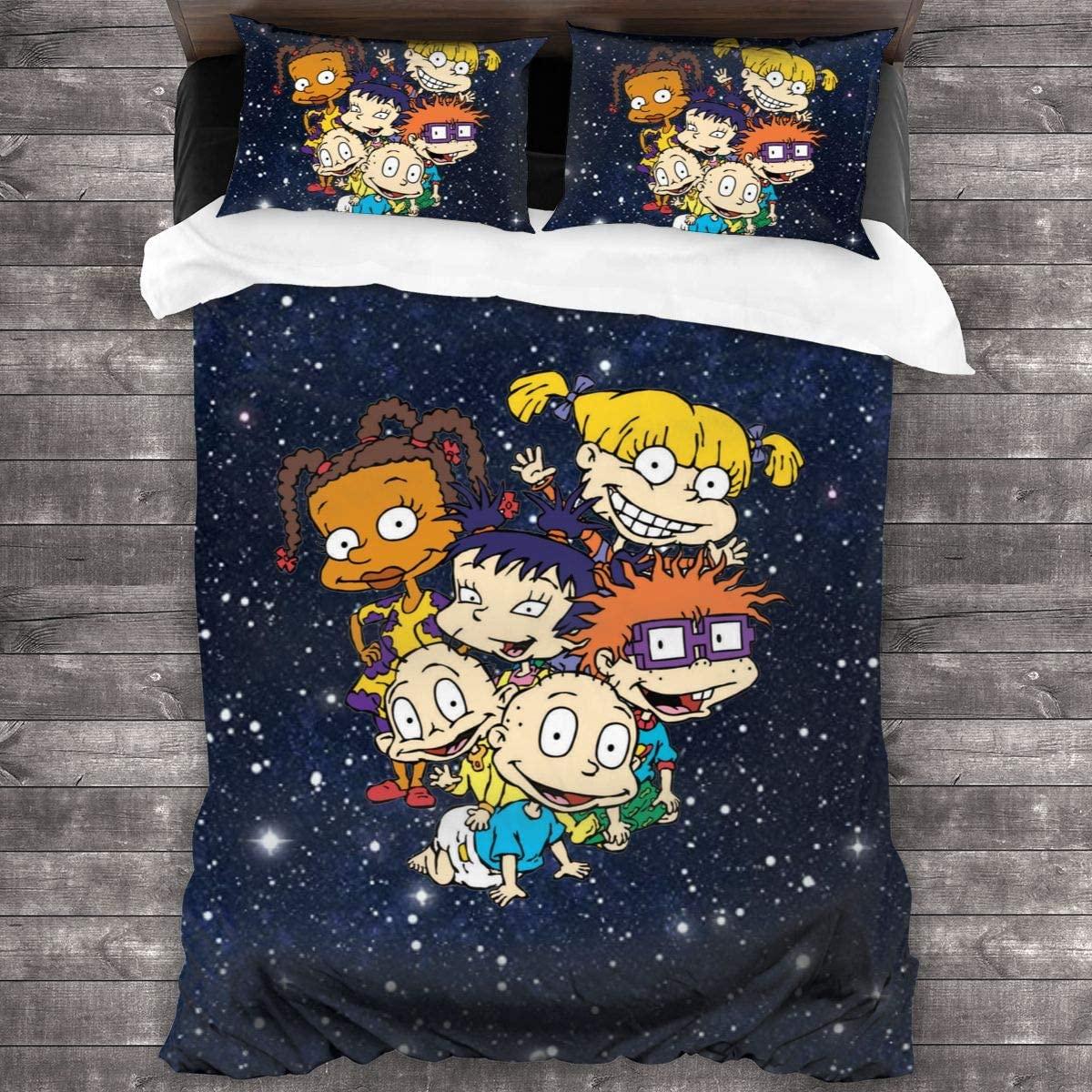 3 قطعة طباعة الفراش Rugrats حاف مجموعة غطاء لينة (لا المعزي) طقم سرير (1 حاف الغطاء 2 وسادة شمس)