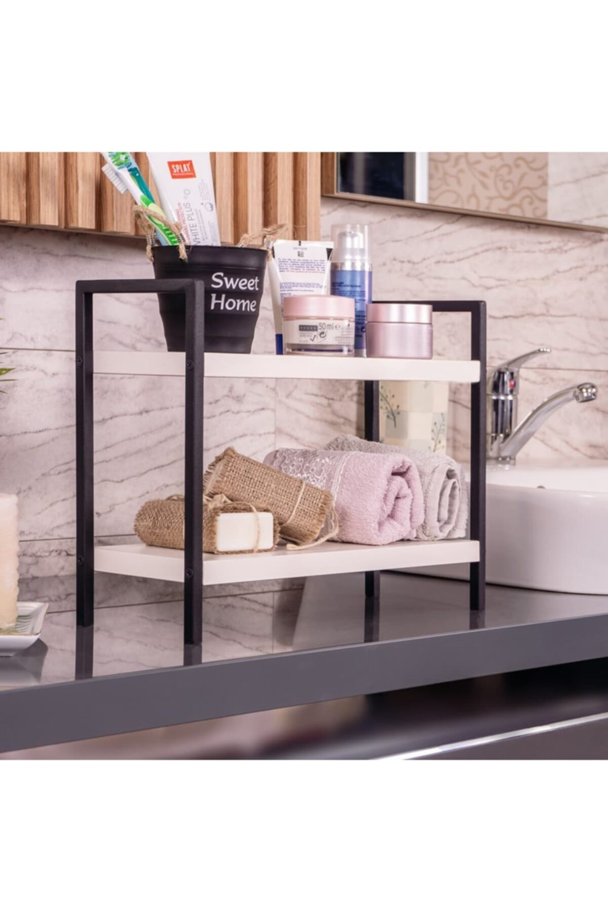 المعادن الجدول خدمة الرف الزخرفية المطبخ الحمام الجرف المنظم رف توابل