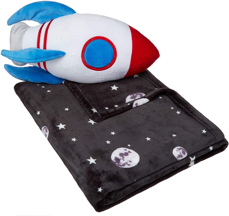 Ракетное постельное белье, одеяло с подушкой, детское постельное белье, набор для сна с подушкой ракетки и флисовым покрытием