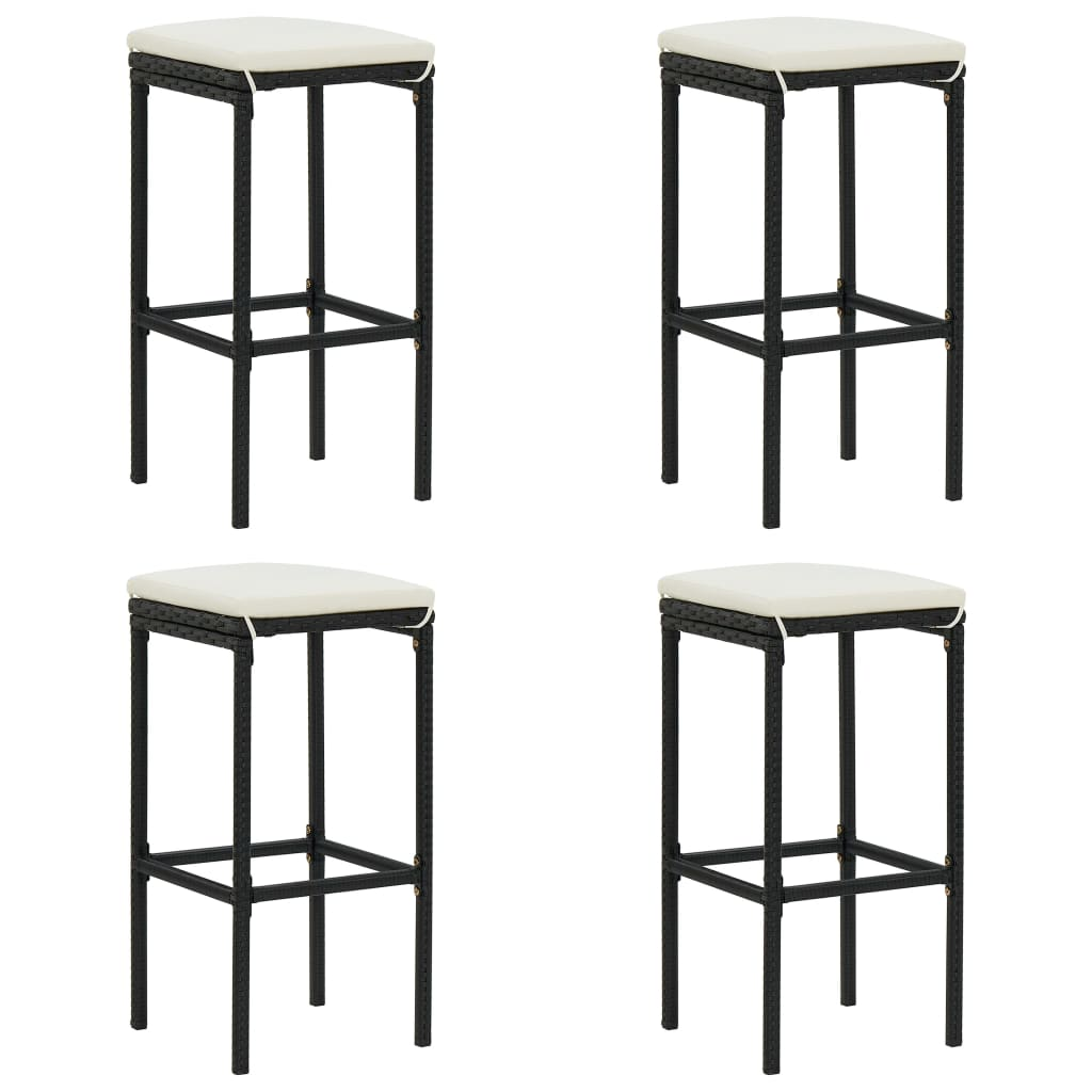 Фото - Bar Stool Chair Counter Stools Set of 4 Kitchen Decor for Counter with Cushions 4 pcs Black Poly Rattan straight stretchable chair cover 4 pcs black