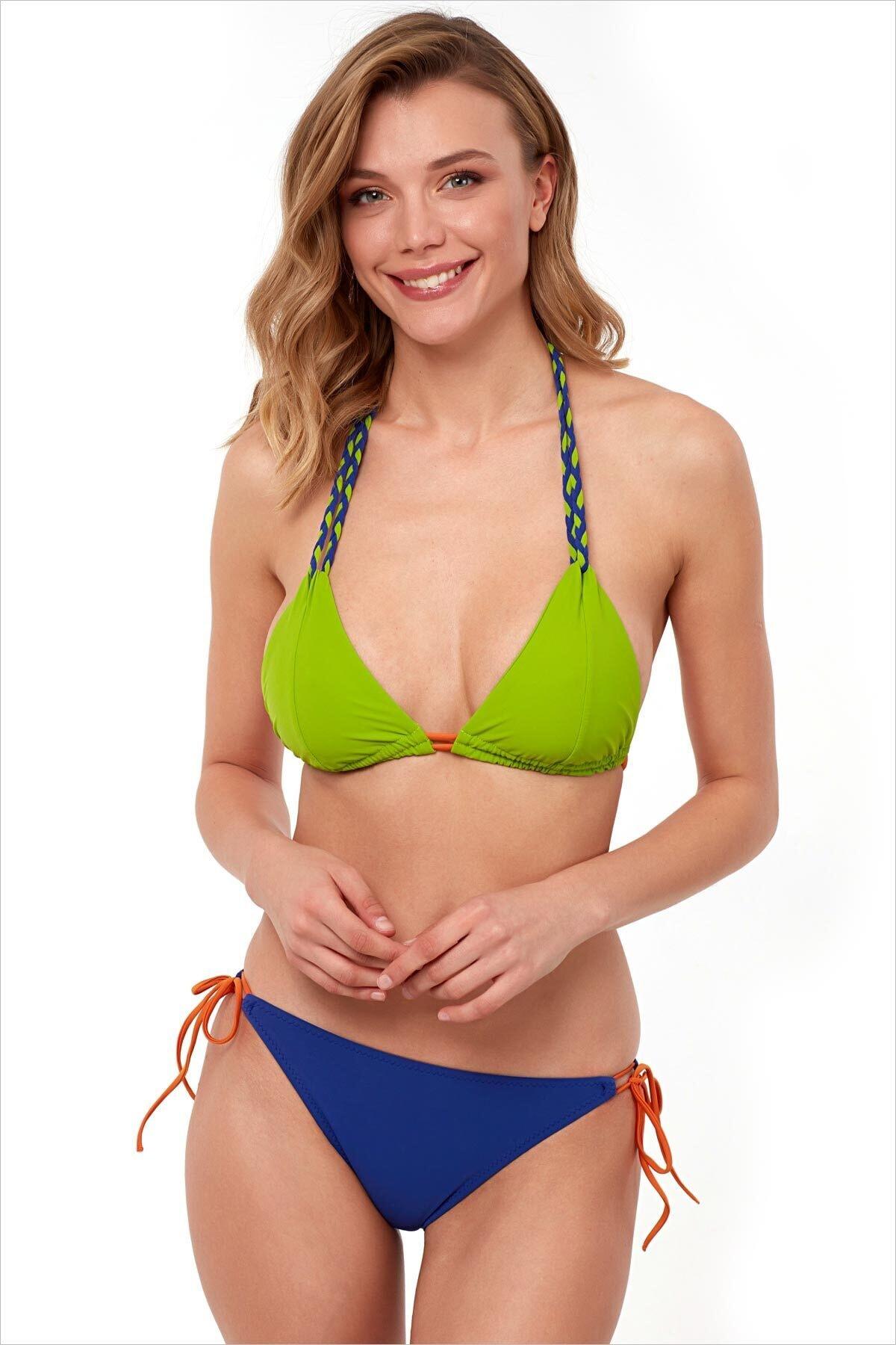 Woman Cutting Green Triangle Bikini Team Bikini Set Summer Sea Pool