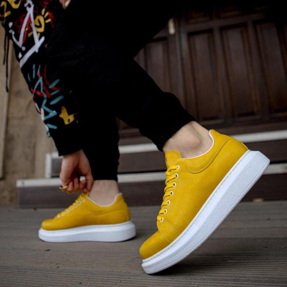 Sapatos de Trabalho Feito com Ferramentas Knack Alta Base Diária Sapatos 044 Amarelo Masculinos Sazonais Casuais Estilo Sapatilha