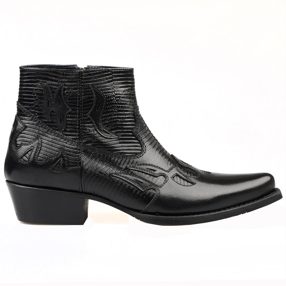 Botas de Cowboy para Homem Botas de Tornozelo Dedo do pé Footcourt-preto Clássico Ocidental Zíper Bordado Pontiagudo Impresso Couro Genuíno