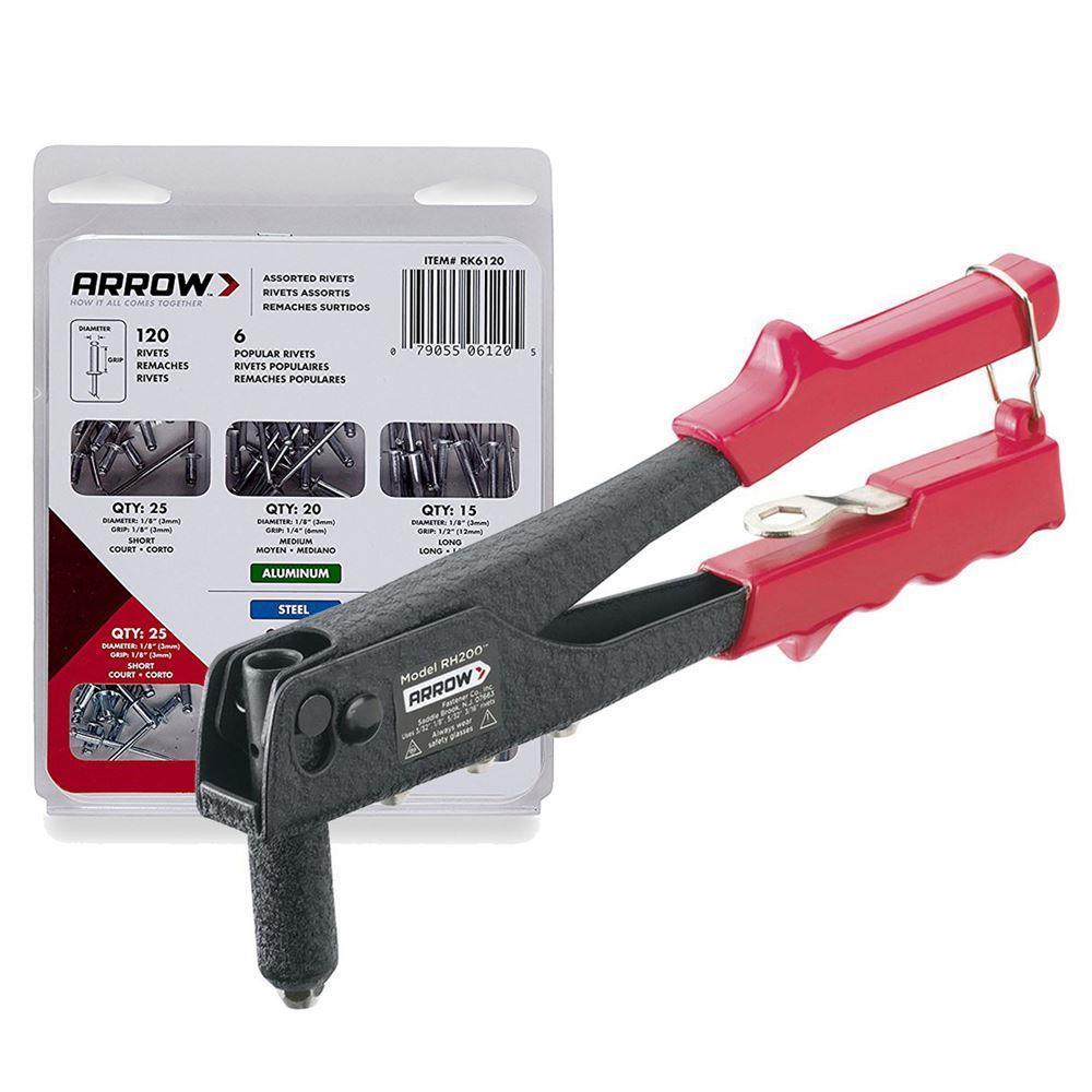 Arrow RH200S 2.5-5mm Professional Rivet Gun + 120 Pcs Rivet