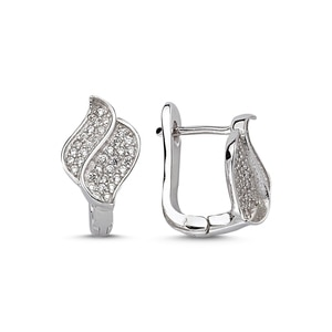 Silver 925 Sterling Zircon Stone Earrings