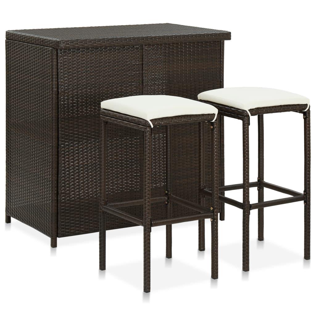 طاولات بار و طقم كراسي غرفة الطعام عالية أعلى عداد ارتفاع مجموعة منضدة ل 2 بولي الروطان البني