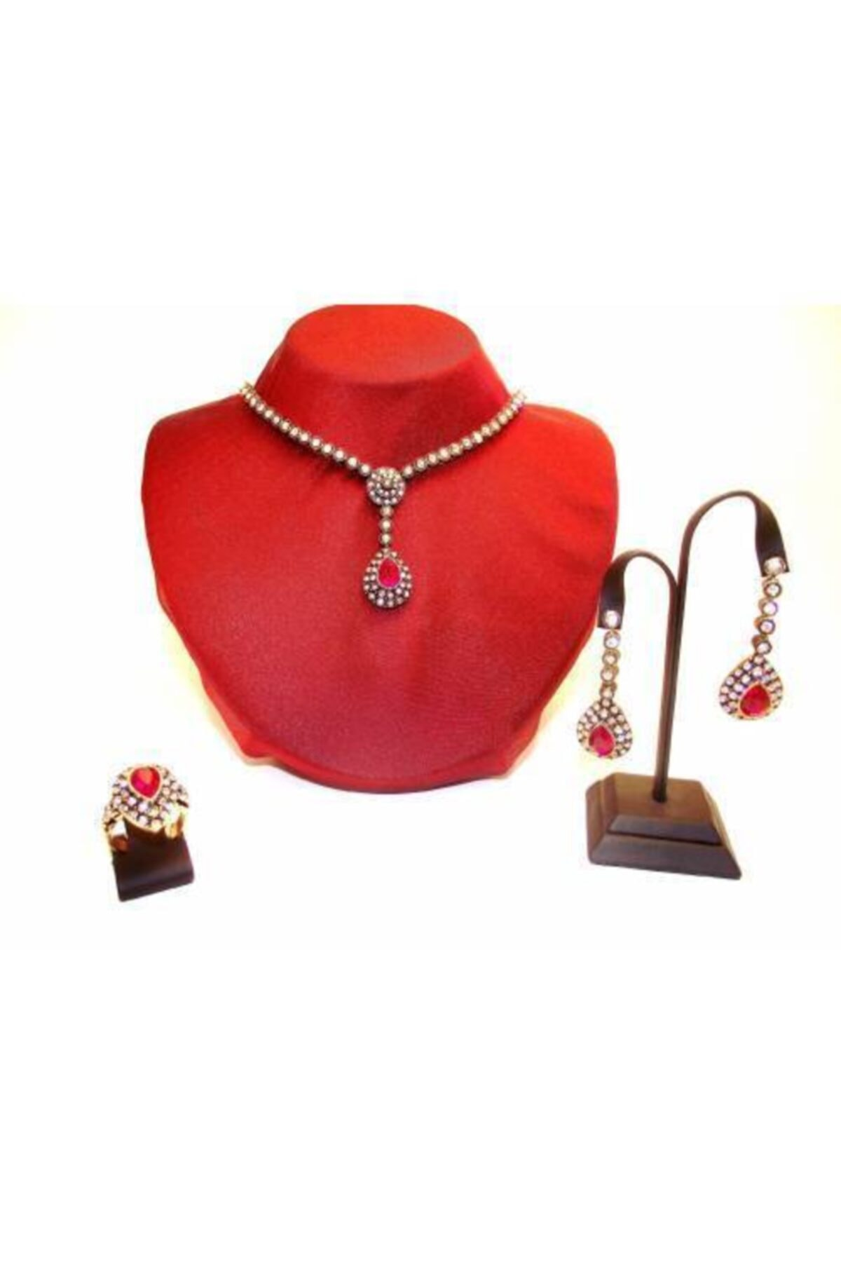 مجوهرات الأزياء النسائية الإناث رائع القرن الماس قطرة الزمرد الأخضر روبي الأحمر مجموعات