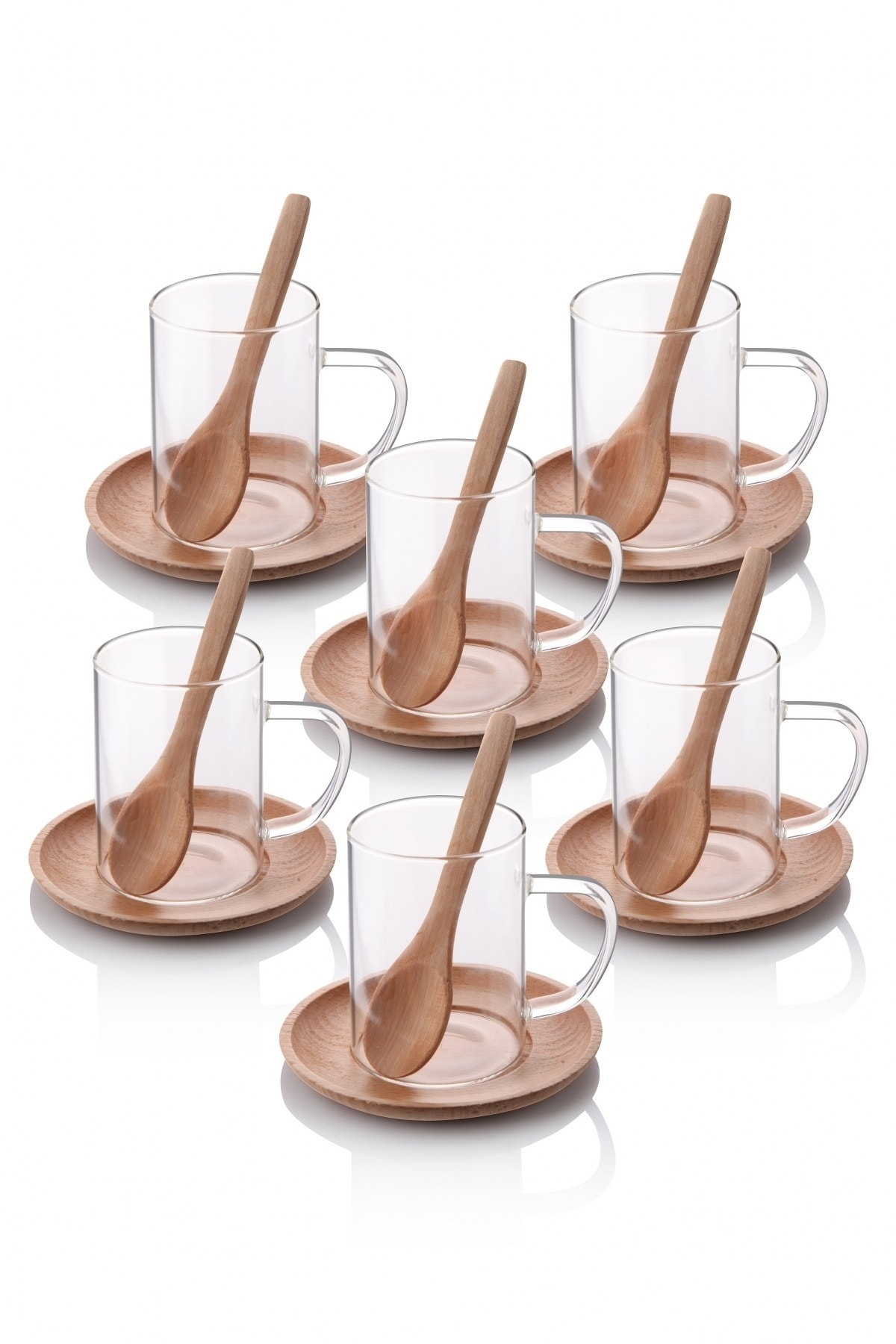 18 قطعة الشاي الزجاج القهوة اسبريسو مجموعة مع الصحن الخشبي وملعقة الخيزران 2021 أدوات المطبخ الحديثة الفاخرة кزخرف Tazas اكواب قهوه