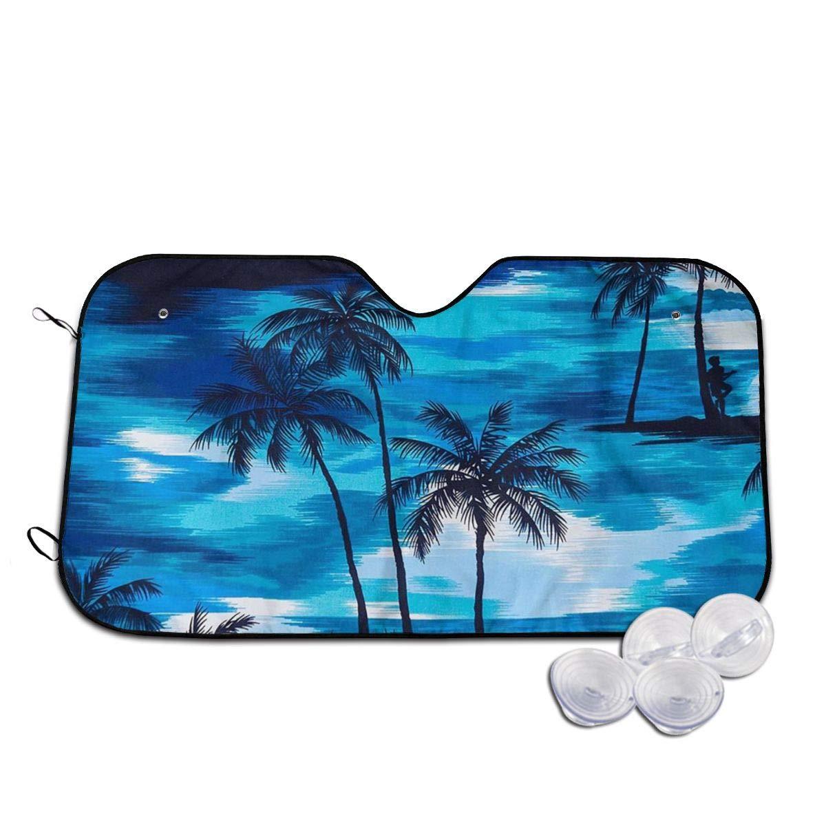 Car Windshield Sunshade Palm Trees Sea Sunset Windshield Sun Shade Car Sunshade,Auto Sun Blocker Visor