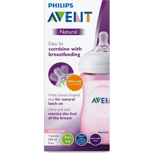Philips Avent Natural PP Baby Bottle 260 ml 1 month + Pink SCF034/17