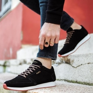 Male Ayakkabıları Knack 002 Süet Black Seasonal Günlük Sport Lace-Up Spring Summer Fashion Orthotic Insole Comfortable Inner Liner Cotton